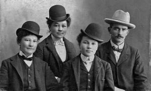 L-R: Agatha Garneau, Archange Garneau, Charlotte Garneau, Placide Poirier near Strathcona, Alberta - Metis - 1901